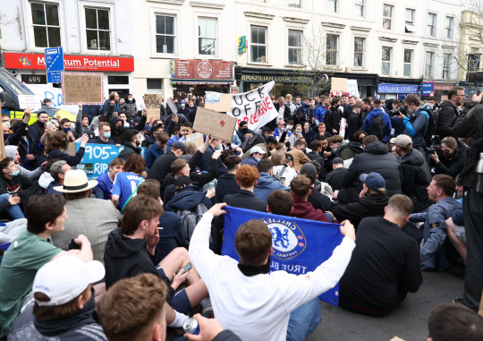 Chelsea fans staged a sit down protest forcing the closure of The Fulham Road