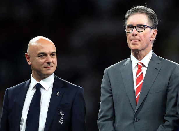 Liverpool owner John W. Henry, right, pictured here with Tottenham Hotspur chairman Daniel Levy