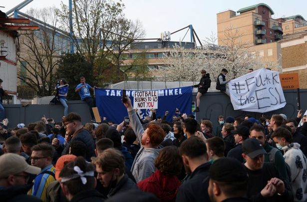 Chelsea fans protested outside Stamford Bridge over the European Super League