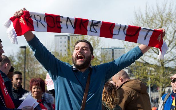 Arsenal fans protest yesterday