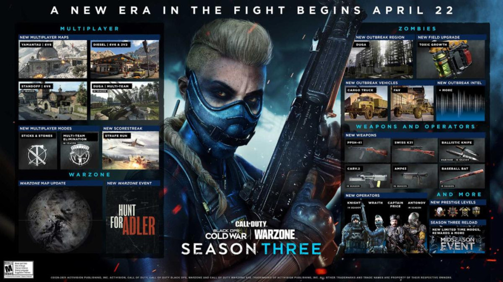 Season Three for Warzone and Black Ops Cold War multiplayer is upon us.