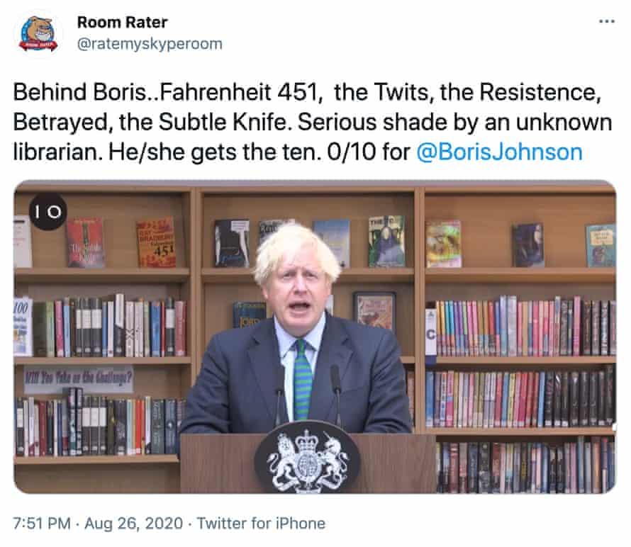 Room Rater assessing Boris Johnson's backdrop.