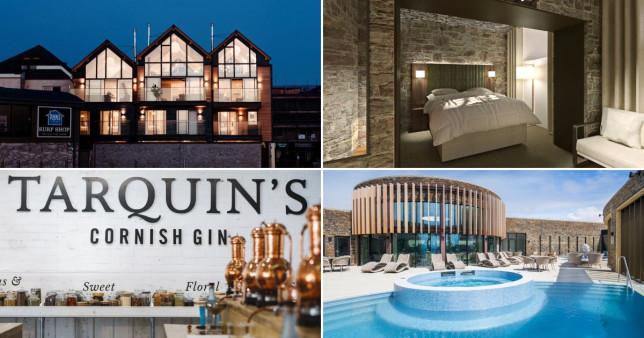 (l-r clockwise) Gwel Tresa; Bodmin Moor Hotel; Tarquin's Gin School; Headland Hotel