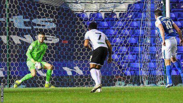 Freddie Woodman saves Lukas Jutkiewicz's penalty