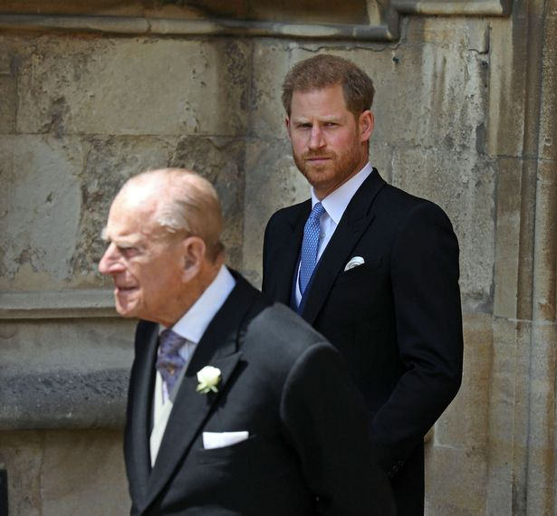 Prince Philip pictured with Prince Harry in 2019