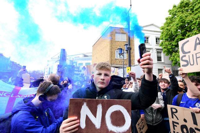 Chelsea fans are protesting outside Stamford Bridge against the European Super League