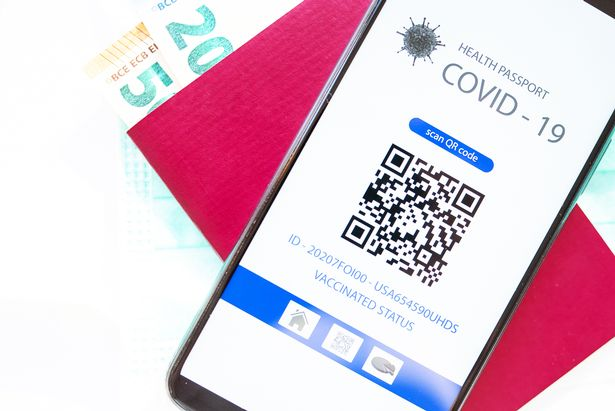 A mobile application with a QR code showing a health passport for covid-19