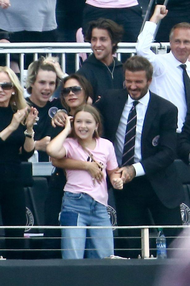 David Beckham hugged his daughter Harper as Inter Miami scored two goals