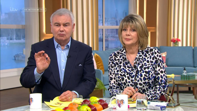 Mandatory Credit: Photo by ITV/REX (11847557l) Eamonn Holmes and Ruth Langsford 'This Morning' TV Show, London, UK - 07 Apr 2021