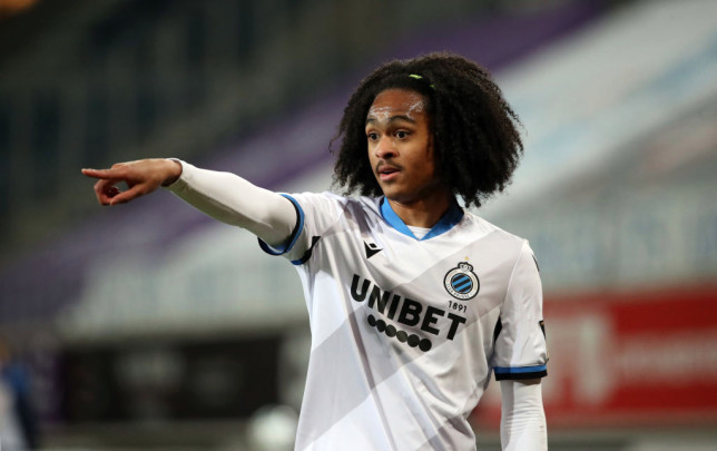 Tahith Chong of Club Brugge gestures during the Jupiler Pro League match between KAA Gent and Club Brugge KV at Ghelamco Arena on March 15, 2021 in Gent, Belgium.