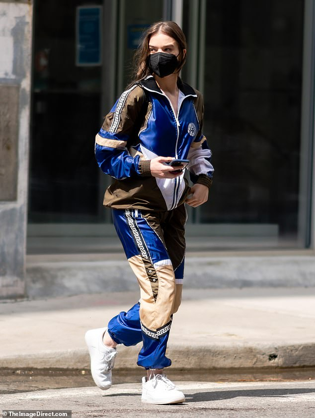 Bold look: Hailee Steinfeld, 24, looks bold in a colorful Versace tracksuit as she runs errands in NYC ahead of a workout