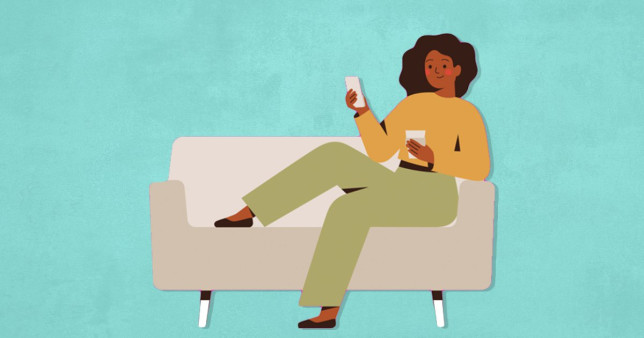 illustration of woman on her phone