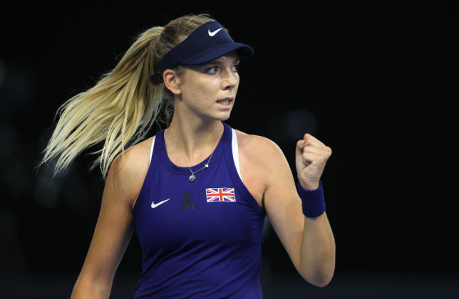 Katie Boulter of Great Britain reacts to winning the first game during match one between Katie Boulter of Great Britain and Marcela Zacarías of Mexico during day 1 of the Billie Jean King Cup Play-Offs between Great Britain and Mexico at National Tennis Centre on April 16, 2021 in London, England.