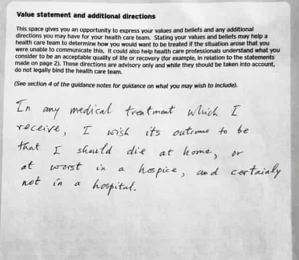 A section of Michael Clanchy's advanced decision document