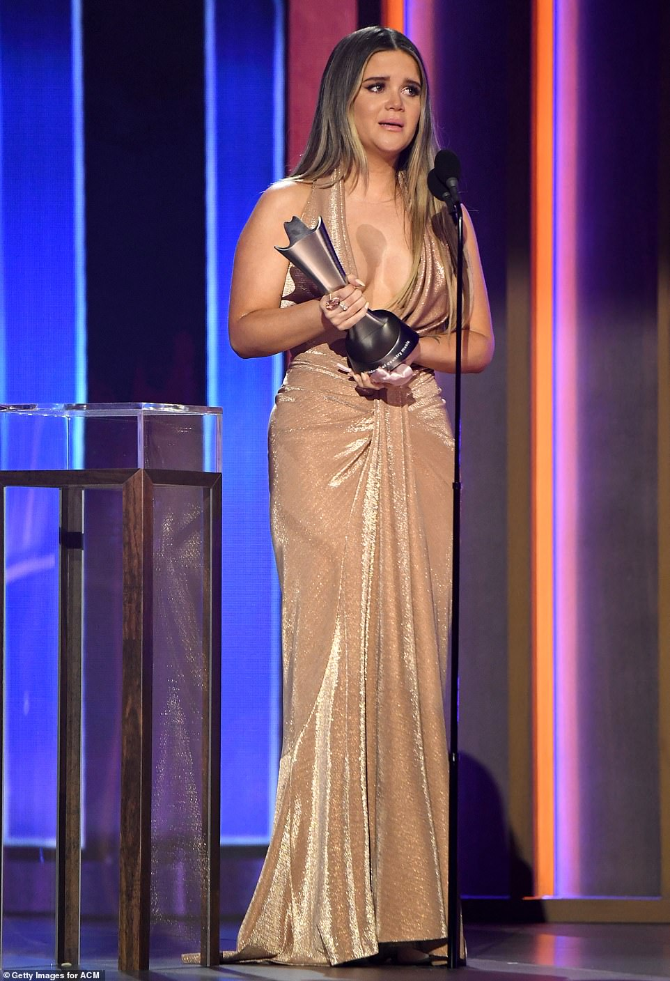 Honored: Maren Morris was one of the early winners at the ceremony for Song of the Year for her track The Bones at the 56 Academy of Country Music Awards on Sunday in Nashville