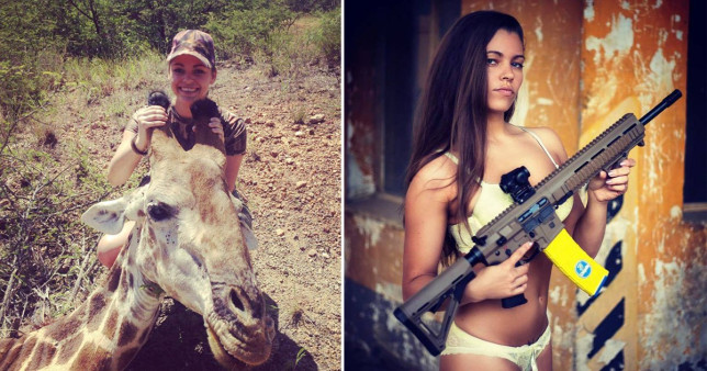 Model poses with animals she hunts on OnlyFans 'to help conservation charities'