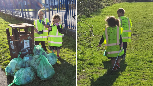 A frustrated mum who was sick of her kids' bickering has been inundated with praise after putting her kids on 'community service' picking up litter to teach them respect. Katie Al-Malik, 35, said she had reached the end of her tether when her two children, Joseph, six, and Aliyah, five, had started to be disrespectful while stuck at home in Liverpool over the Easter half term break.