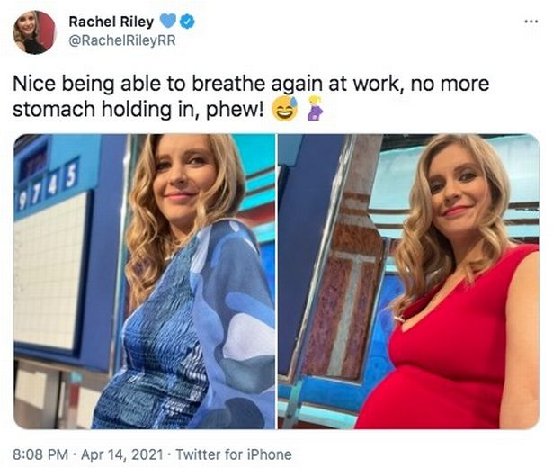 Rachel Riley has joked that she no longer has to hold her stomach in after sharing her baby news