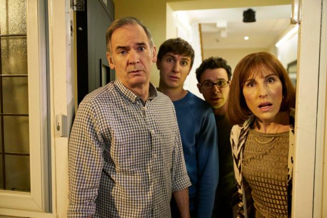 Friday Night Dinner - Martin (Paul Ritter), Johnny (Tom Rosenthal), Adam (Simon Bird) Jackie (Tamsin Greig)