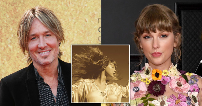 Keith Urban and Taylor Swift; the album artwork for Fearless (Taylor's Version)