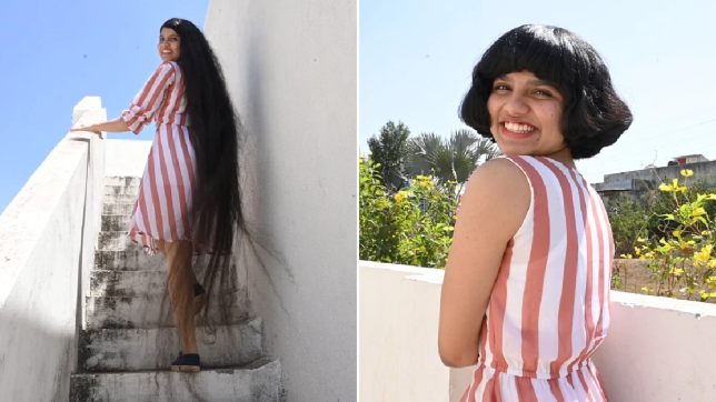 Nilanshi's hair before and after
