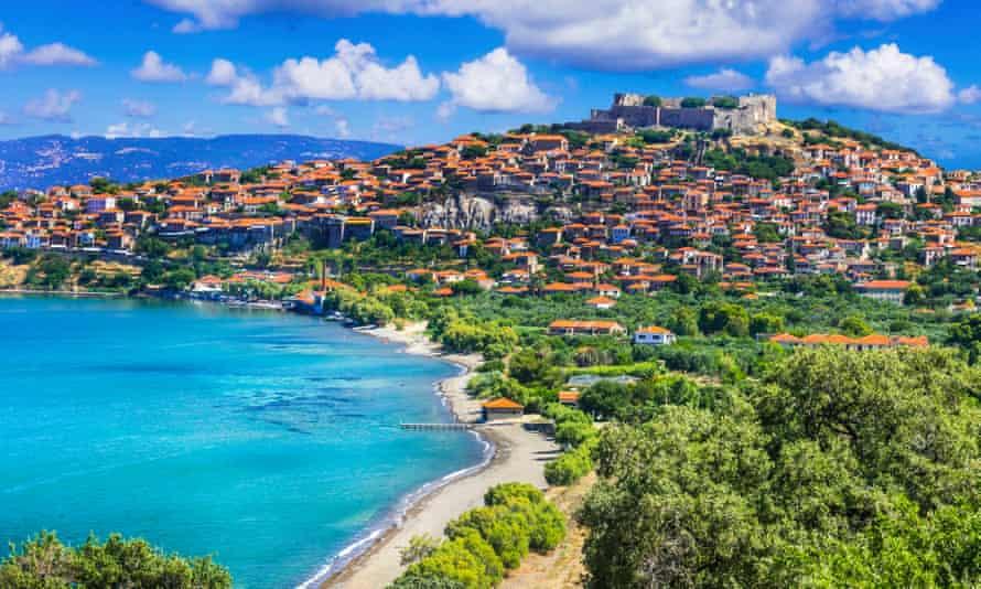 View of Molyvos (Molivos) town, Lesbos.