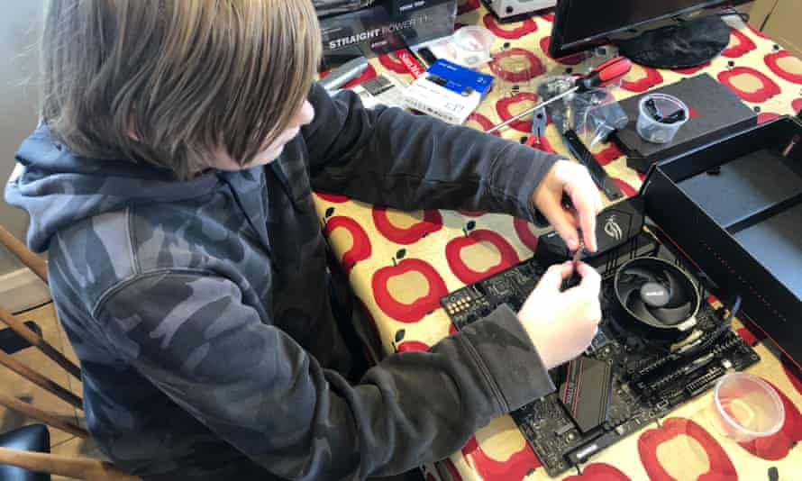 Keith Stuart's son Albie, fitting the SSD