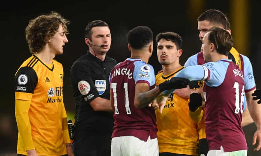 West Ham's Jesse Lingard clashes with Wolves' Pedro Neto after the match
