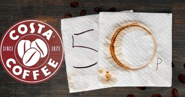 costa coffee logo and napkin