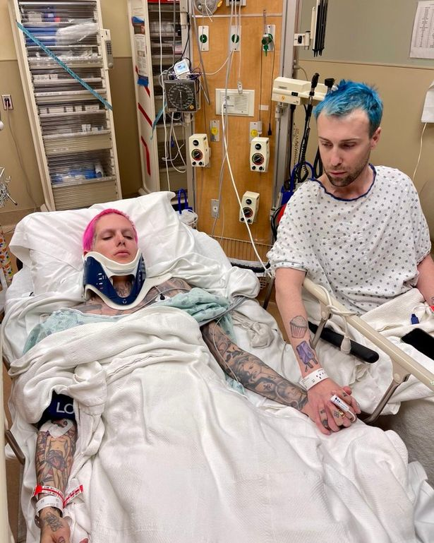 Jeffree was pictured in hospital wearing a neck brace