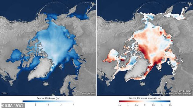 The Arctic Ocean could soon succumb to a new threat – Atlantification. Warm water from the Atlantic Ocean is traveling higher latitudes that is causing the edge of sea ice to melt. Left shows ice thickness levels and right highlights thickness anomalies