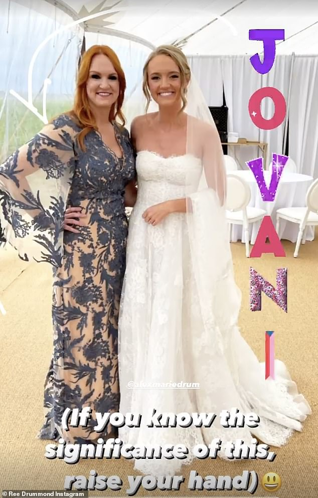 The blues: It was the perfect wedding look for Ree, who wowed in the soft blue number during daughter Alex and new husband Mauricio Scott's Saturday nuptials at the family 433,000 acre ranch in Oklahoma