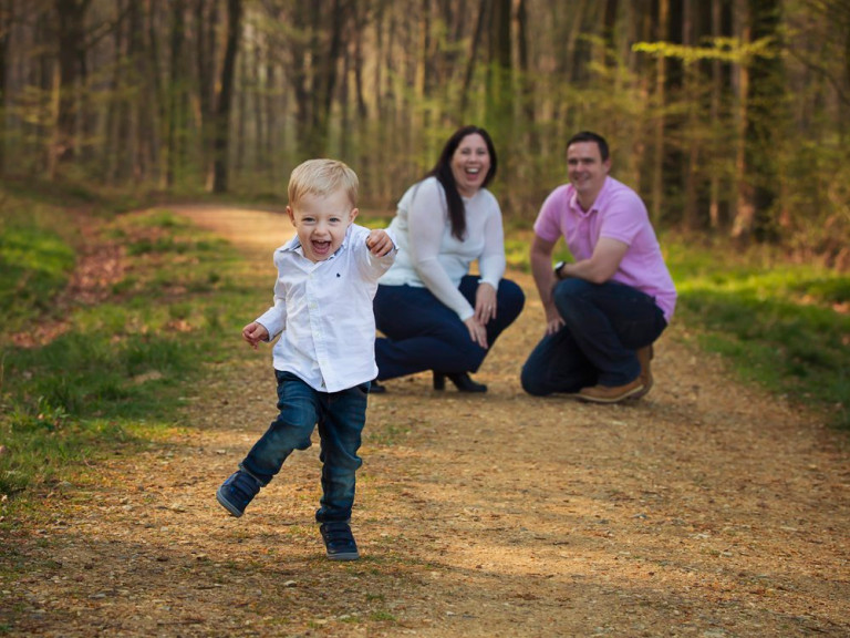 Lorcan with parents Jess and Max (Nature Nurture Photography PA Real Life)