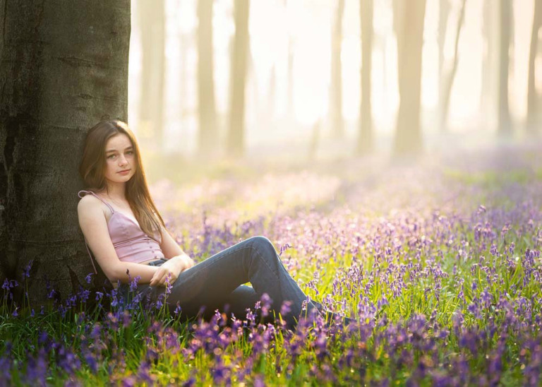 Isla Maslen in the perfect outdoor setting of a bluebell wood (Nature Nurture Photography PA Real Life)