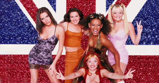 Spice Girls with a British flag
