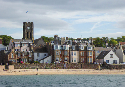 View of North Berwick from the boat to Bass Rock