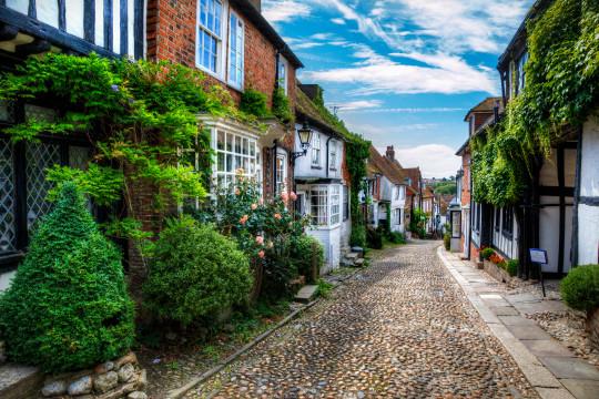 Charming houses in beautiful, cobbled Mermaid Street, Rye,