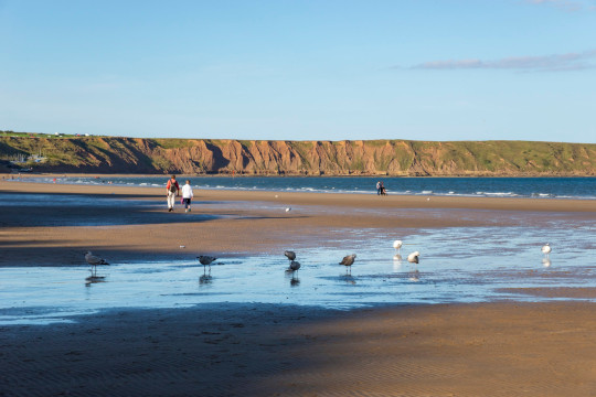Couples enjoying the sandy beach at Filey on the east coast of England