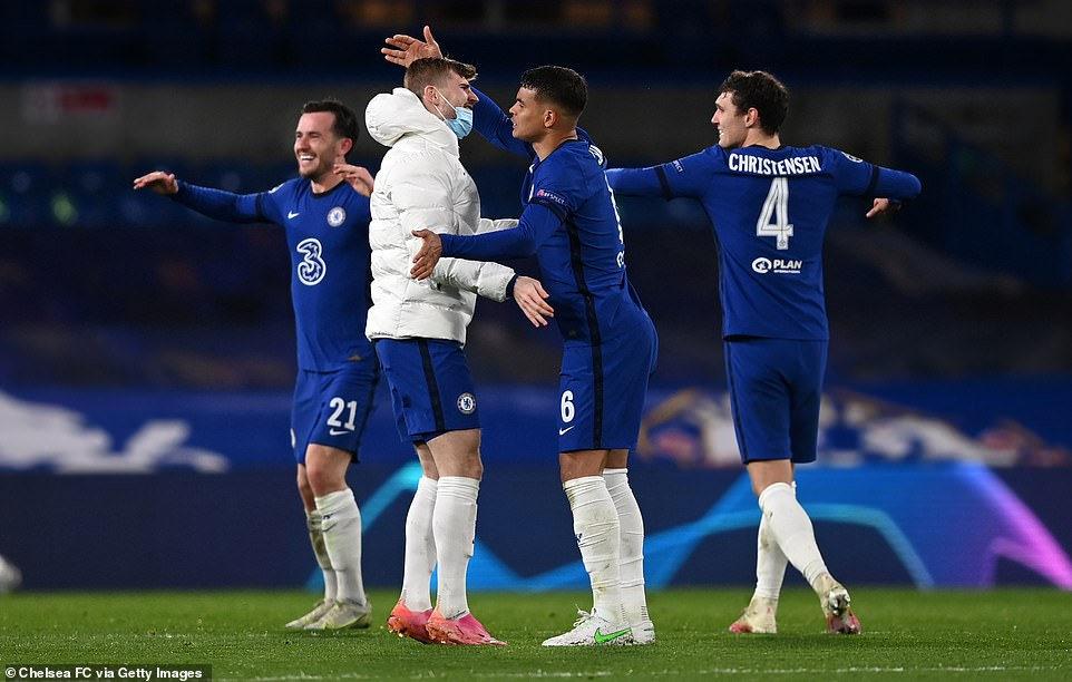 Chelsea players celebrate after reaching the Champions League final on Wednesday evening after beating Real Madrid