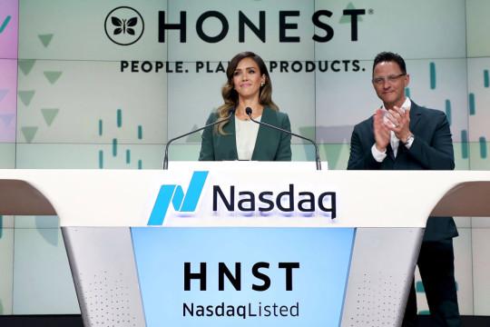 The Honest Company's Jessica Alba Rings The Nasdaq Stock Market Opening Bell To Mark The Company's IPO