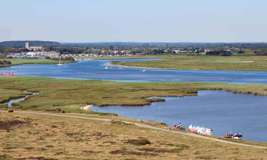The River Stour and Christchurch Harbour from Hengistbury Head.