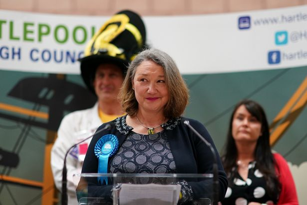 Conservative Party MP for Hartlepool Jill Mortimer speaks after she was declared the winner in the by-election