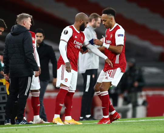 Alexandre Lacazette replaced Pierre-Emerick Aubameyang with 10 minutes to go in Arsenal's draw with Villarreal