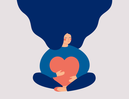 Smiling female character sits in lotus pose with closed eyes and eembraces a big red heart