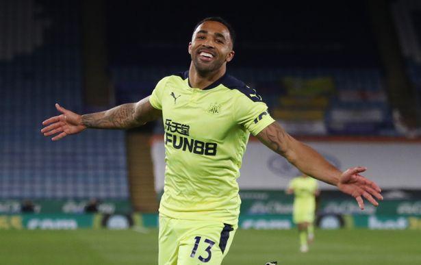 Callum Wilson of Newcastle celebrates scoring his team's third goal