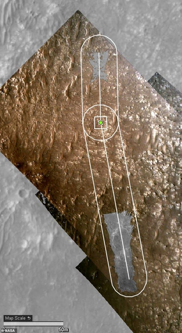 NASA had Perseverance sit 262 feet (80 meters) from the helicopter's takeoff and landing spot, Wright Brothers Field (pictured), during the copter's fourth flight. Pictured is Ingenuity's flight path