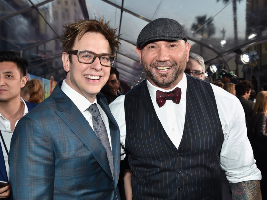 James Gunn and Dave Bautista at Guardians of the Galaxy premiere
