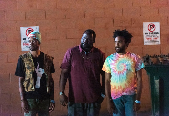 Programme Name: Atlanta - TX: n/a - Episode: n/a (No. 4) - Picture Shows: (L-R) Darius (LAKEITH STANFIELD), Alfred 'Paper Boi' Miles (BRIAN TYREE HENRY), Earnest 'Earn' Marks (DONALD GLOVER) - (C) Copyright 2015, FX Networks - Photographer: Unknown
