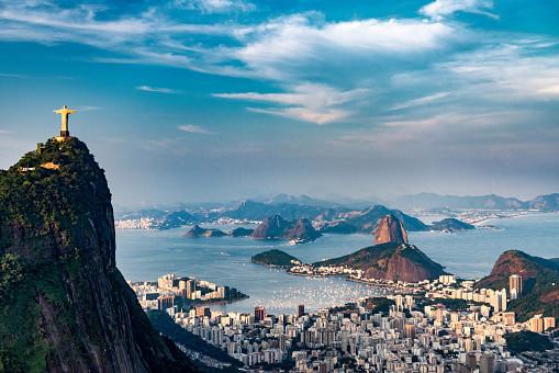 An aerial view of the city of Rio De Janeiro, Brazil.