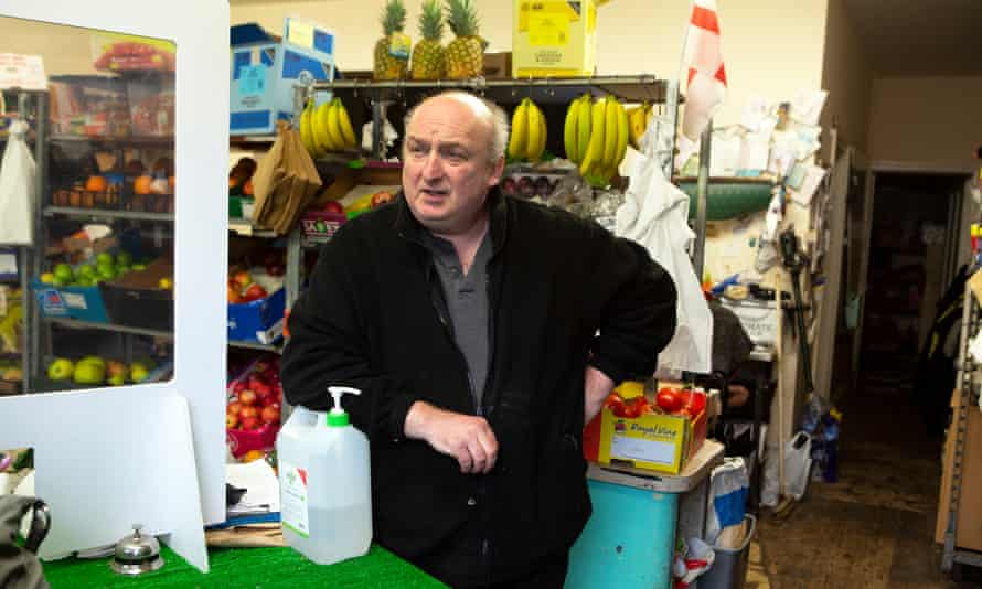 Greengrocer Ian Forber in his shop